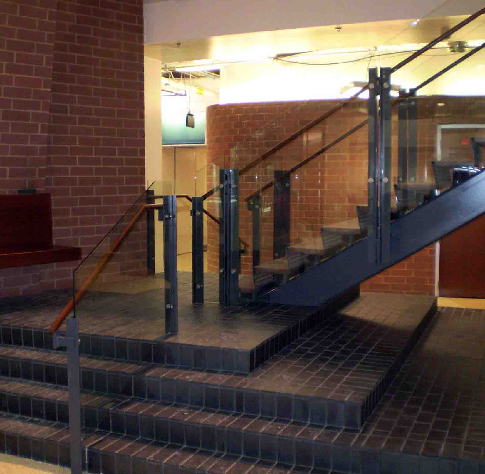Medical Science Biological Center At The University Of Cincinnati » Laser  Cut Risers, Wood Tread And Hand Rail, With Glass Panels Stair Case