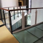 Glass Panel Guard Rail With Wooden Top Rail