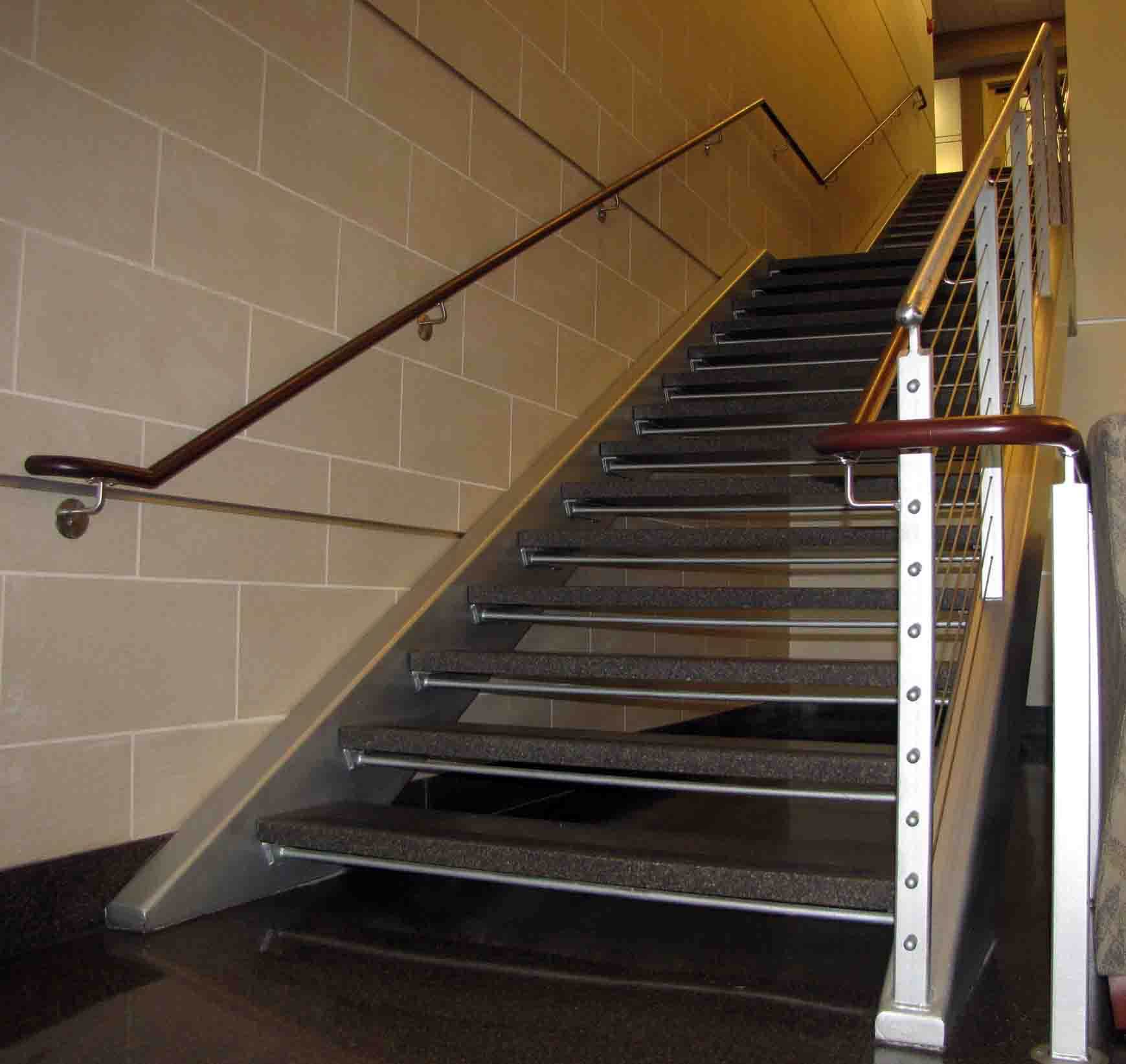 Granite Tread Staircase Stainless Steel Hand Rails With