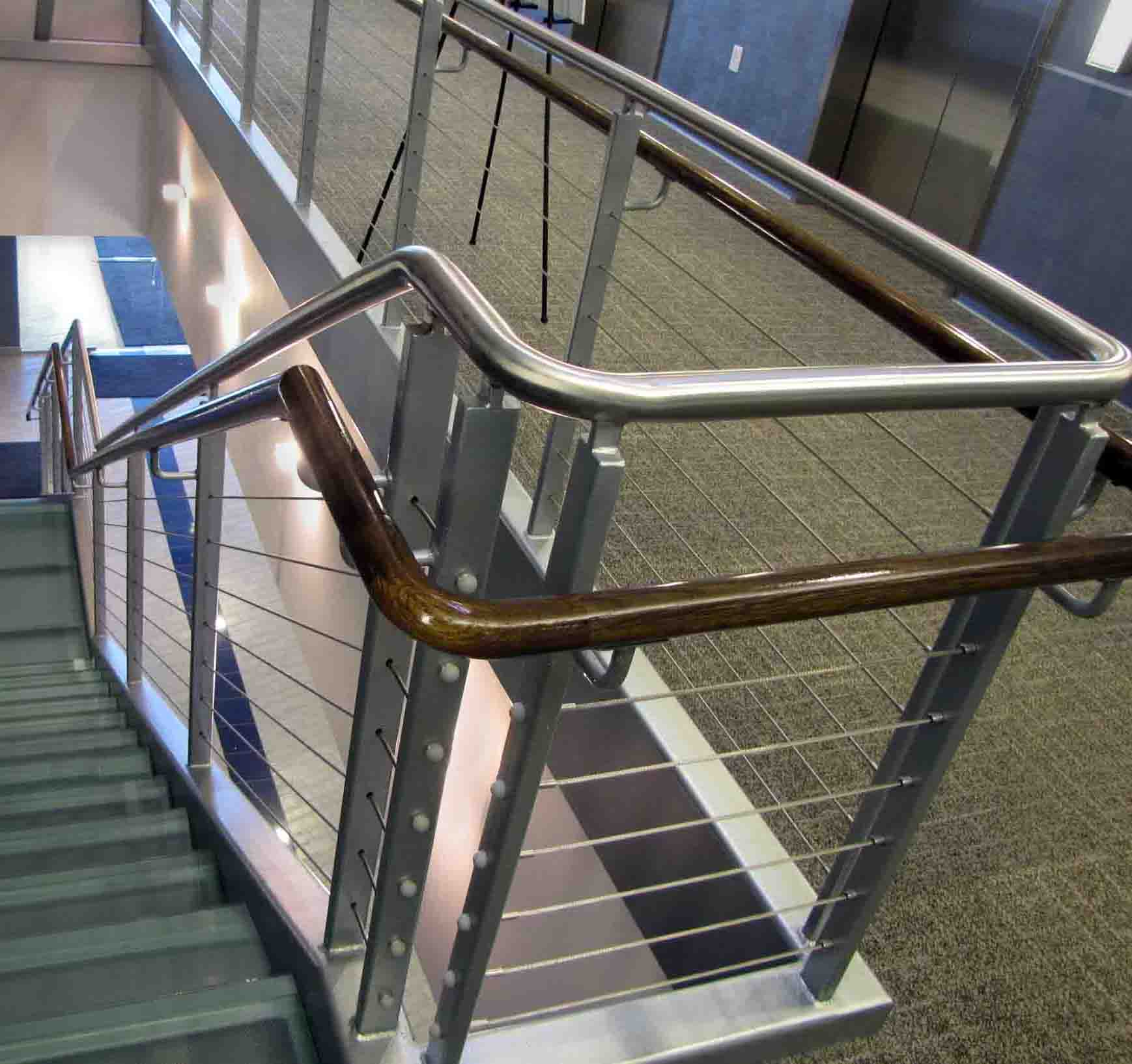 Glass Tread Staircase With Stainless Steel Rail With Wire